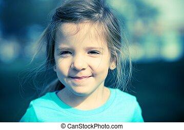 portret, cięty, szczęśliwy, dziecko