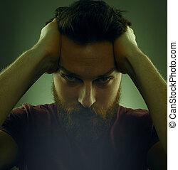 portret, człowiek, przystojny, brodaty, poważny