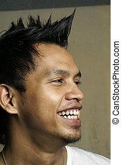 portret, człowiek, punk, asian