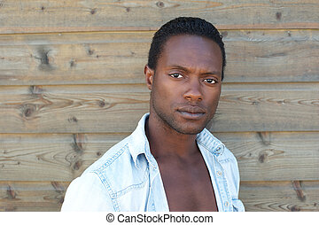 portret, czarnoskóry, pociągający, człowiek
