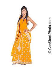 portret, długość, kobieta, indianin, pełny