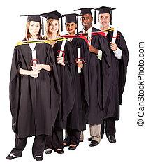portret, długość, pełny, grupa, absolwenci