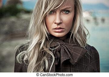 portret, dama, młody, blond