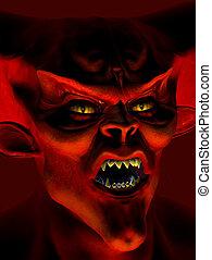 portret, demon