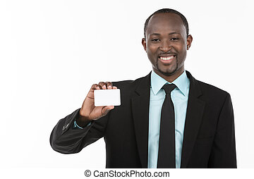 portret, dowcip, biznesmen, afrykanin