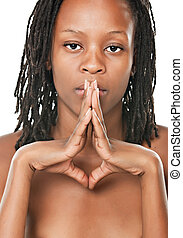 portret, dziewczyna, afrykanin