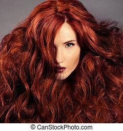 portret, dziewczyna, fason, czerwony, hair.