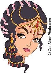 portret, dziewczyna, indianin