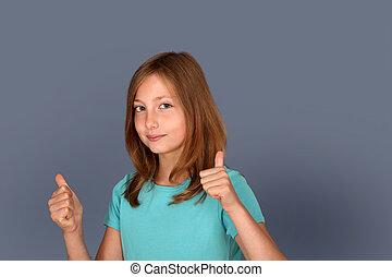 portret, dziewczyna, kciuki, młody, do góry