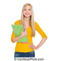 portret, dziewczyna student, szczęśliwy