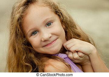 portret, dziewczyna, szczęśliwy