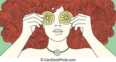 portret, dziewczyna, z, kędzierzawy, czerwony włos
