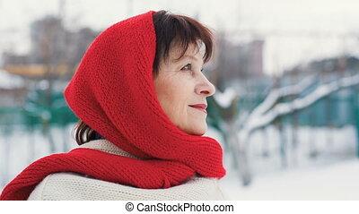 portret, eldery, kobieta, zima