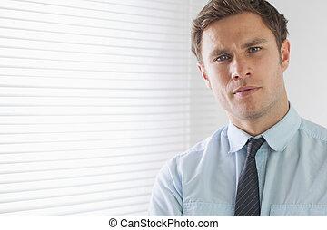 portret, elegancki, do góry szczelnie, biznesmen