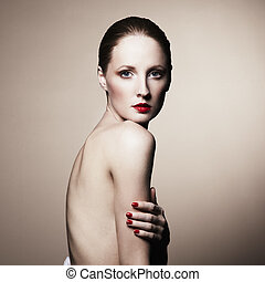 portret, elegancki, nagi, fason, kobieta