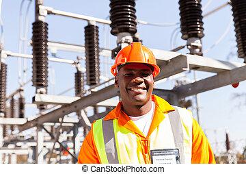 portret, elektryczny, afrykanin, inżynier