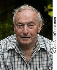 portret, emerytowany, człowiek
