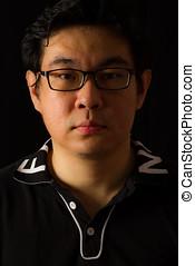portret, facet, asian, chińczyk