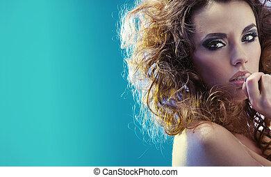 portret, fantastyczny, kobieta, czuciowy