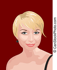 portret, fotografia, uśmiechanie się, gir, realistyczny
