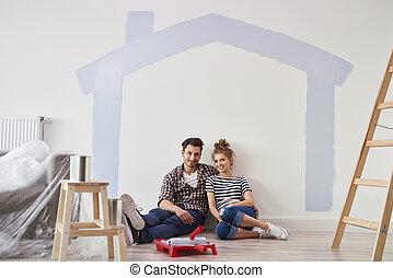 portret huis, paar, hun, nieuw