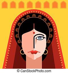 portret, indianin, dama