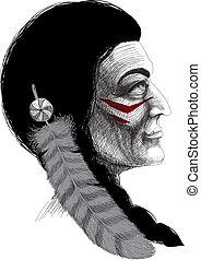 portret, indianin, wojownik