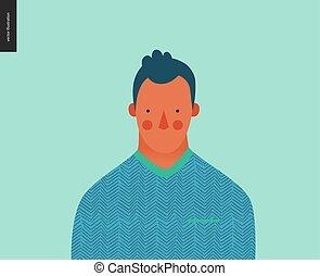 portret, jasny, ludzie, młody mężczyzna, -