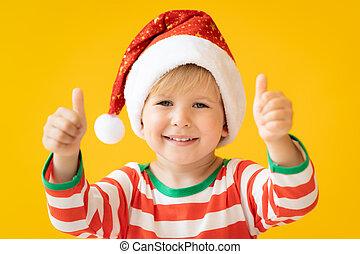 portret, kciuki, szczęśliwy, pokaz, dziecko, do góry