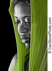 portret, kobieta, afrykanin