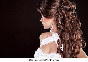 portret, kobieta, blask, hair., długi, piękny, fason, hairstyle.