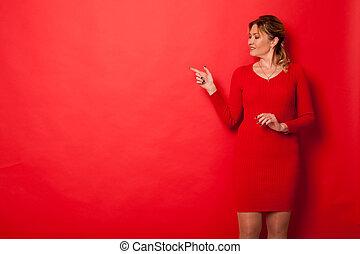 portret, kobieta, czterdziestka, ręka, bok, lata, widać, piękny