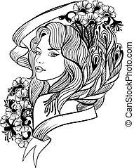 portret, kobieta, doodle