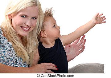 portret, kobieta, dziecko