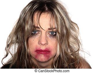 portret, kobieta, fałdzisty, płacz, charakteryzacja