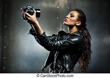 portret, kobieta, fason, młody