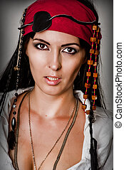 portret, kobieta, fason, pirat