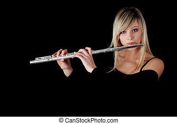 portret, kobieta, grający flet, poprzeczny