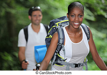 portret, kobieta hiking