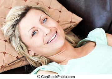 portret, kobieta interesu, piękny