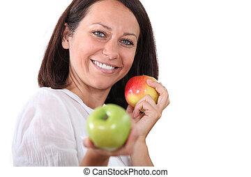 portret, kobieta, jabłka