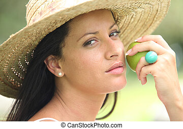 portret, kobieta, jabłko