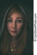 portret, kobieta, kaptur