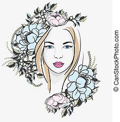 portret, kobieta, kwiaty, młody