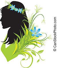 portret, kobieta, kwiaty