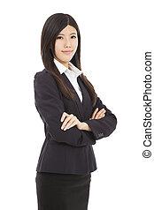 portret, kobieta, młody, handlowy, asian