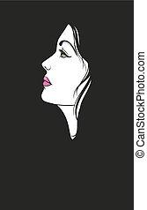 portret, kobieta, młody