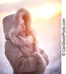portret, kobieta, młody, zima