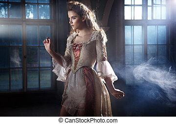 portret, kobieta, piękno