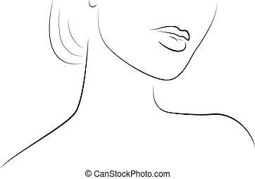 portret, kobieta, piękny